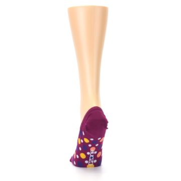 Image of Pink Multicolored Dots Women's No-Show Liner Socks (back-17)