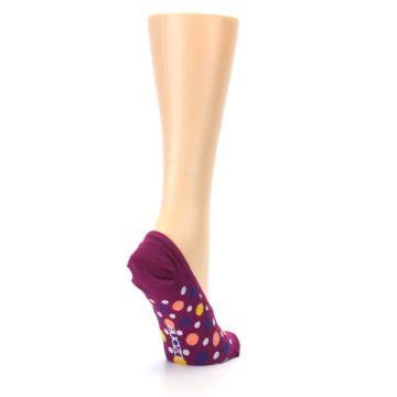 Image of Pink Multicolored Dots Women's No-Show Liner Socks (side-1-back-21)