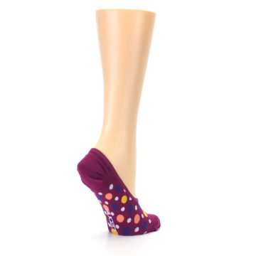Image of Pink Multicolored Dots Women's No-Show Liner Socks (side-1-back-22)
