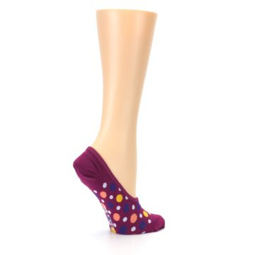 Image of Pink Multicolored Dots Women's No-Show Liner Socks (side-1-23)