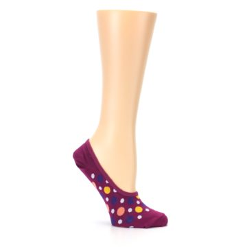 Image of Pink Multicolored Dots Women's No-Show Liner Socks (side-1-25)