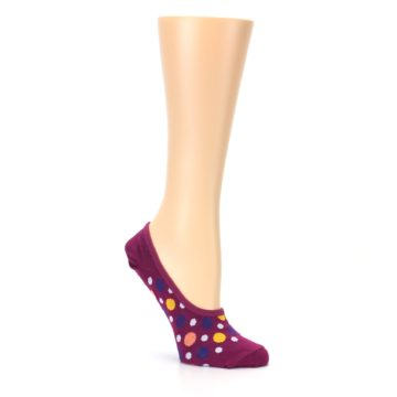 Image of Pink Multicolored Dots Women's No-Show Liner Socks (side-1-26)