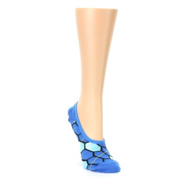 Image of Blue Honeycomb Pattern Women's No-Show Liner Socks (side-1-front-02)