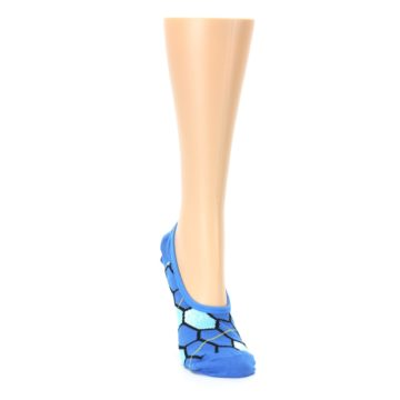 Image of Blue Honeycomb Pattern Women's No-Show Liner Socks (side-1-front-03)