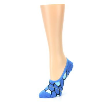 Image of Blue Honeycomb Pattern Women's No-Show Liner Socks (side-2-09)