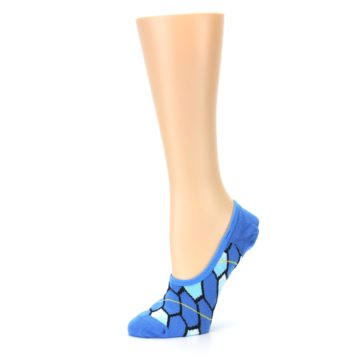 Image of Blue Honeycomb Pattern Women's No-Show Liner Socks (side-2-10)