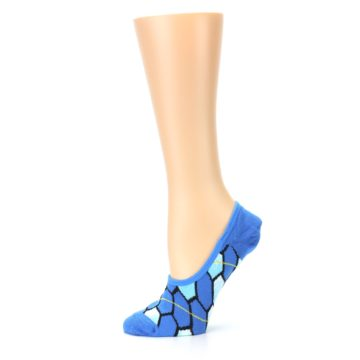 Image of Blue Honeycomb Pattern Women's No-Show Liner Socks (side-2-11)