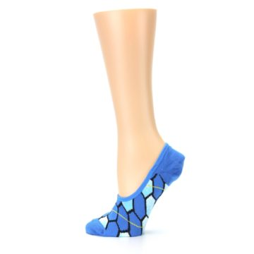 Image of Blue Honeycomb Pattern Women's No-Show Liner Socks (side-2-12)