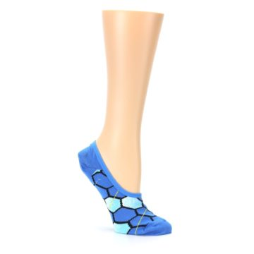 Image of Blue Honeycomb Pattern Women's No-Show Liner Socks (side-1-26)