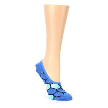 Image of Blue Honeycomb Pattern Women's No-Show Liner Socks (side-1-27)