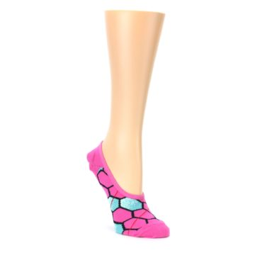 Pink Blue Honeycomb Pattern Womens No Show Liner Socks Ozone Socks