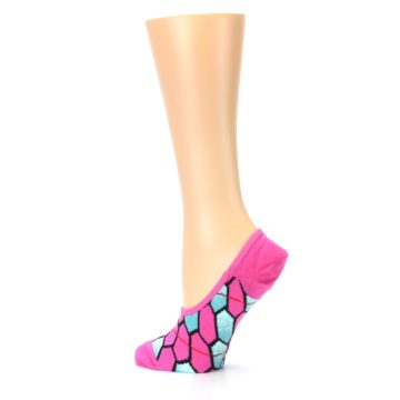 Image of Pink Blue Honeycomb Pattern Women's No-Show Liner Socks (side-2-13)