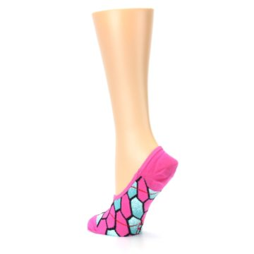 Image of Pink Blue Honeycomb Pattern Women's No-Show Liner Socks (side-2-back-14)