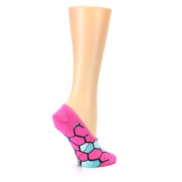 Image of Pink Blue Honeycomb Pattern Women's No-Show Liner Socks (side-1-23)