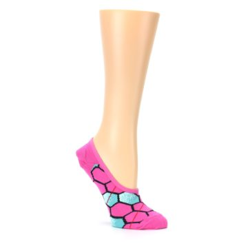 Image of Pink Blue Honeycomb Pattern Women's No-Show Liner Socks (side-1-26)