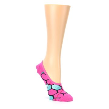 Image of Pink Blue Honeycomb Pattern Women's No-Show Liner Socks (side-1-27)