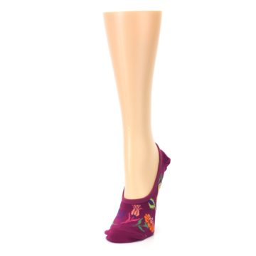 Image of Fuchsia Pink Flowers Women's No-Show Liner Socks (side-2-front-07)