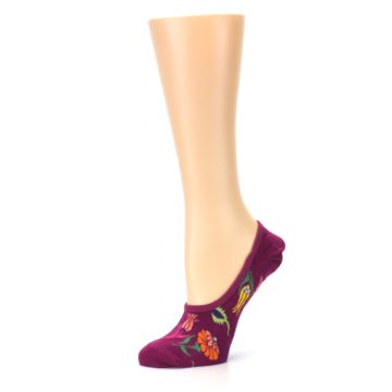 Image of Fuchsia Pink Flowers Women's No-Show Liner Socks (side-2-10)