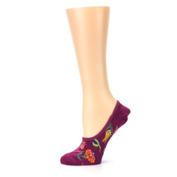 Image of Fuchsia Pink Flowers Women's No-Show Liner Socks (side-2-11)