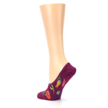 Image of Fuchsia Pink Flowers Women's No-Show Liner Socks (side-2-back-14)