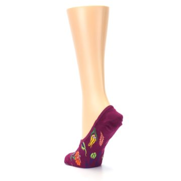 Image of Fuchsia Pink Flowers Women's No-Show Liner Socks (side-2-back-15)