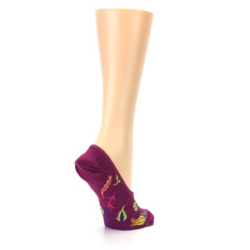 Image of Fuchsia Pink Flowers Women's No-Show Liner Socks (side-1-back-22)