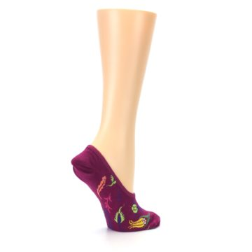 Image of Fuchsia Pink Flowers Women's No-Show Liner Socks (side-1-23)