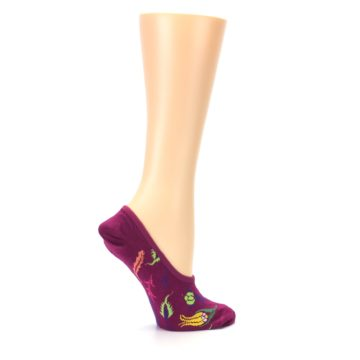 Image of Fuchsia Pink Flowers Women's No-Show Liner Socks (side-1-24)