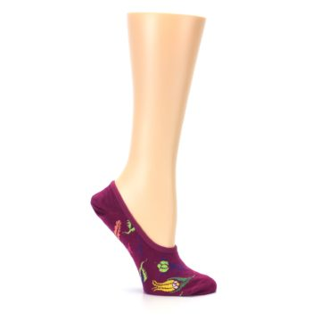 Image of Fuchsia Pink Flowers Women's No-Show Liner Socks (side-1-25)