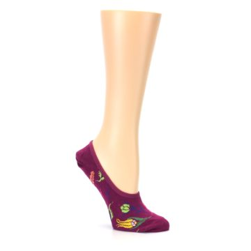 Image of Fuchsia Pink Flowers Women's No-Show Liner Socks (side-1-26)