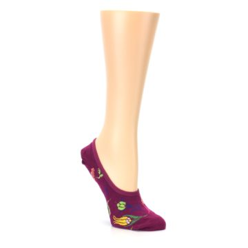 Image of Fuchsia Pink Flowers Women's No-Show Liner Socks (side-1-27)