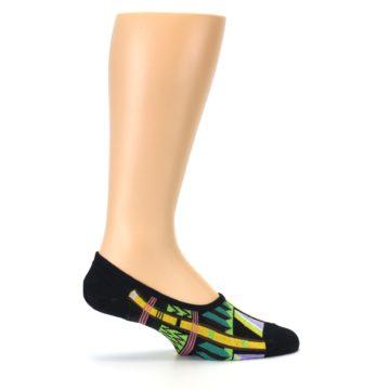 Image of Black Gold Tribal Patterned Mens No-Show Sock (side-1-24)