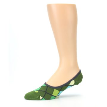 Image of Greens Diamond Stripe Mens No-Show Sock (side-2-10)