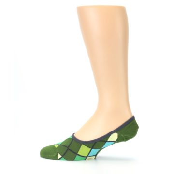 Image of Greens Diamond Stripe Mens No-Show Sock (side-2-12)