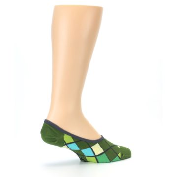 Image of Greens Diamond Stripe Mens No-Show Sock (side-1-23)