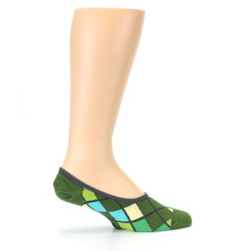 Image of Greens Diamond Stripe Mens No-Show Sock (side-1-24)