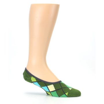 Image of Greens Diamond Stripe Mens No-Show Sock (side-1-25)