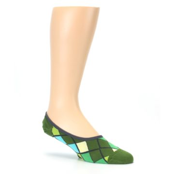 Image of Greens Diamond Stripe Mens No-Show Sock (side-1-26)