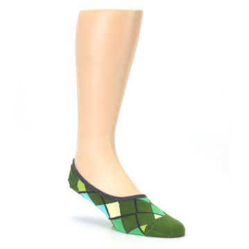 Image of Greens Diamond Stripe Mens No-Show Sock (side-1-27)