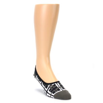 Image of Brown White Interlocking Squares Mens No-Show Sock (side-1-front-02)