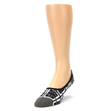 Image of Brown White Interlocking Squares Mens No-Show Sock (side-2-front-07)