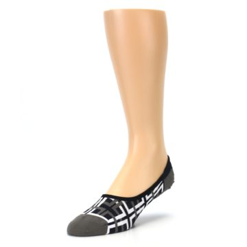 Image of Brown White Interlocking Squares Mens No-Show Sock (side-2-front-08)