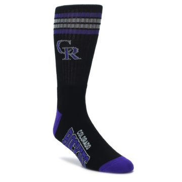 black and purple mens athletic team socks colorado rockies