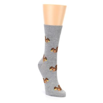 Image of Grey Brown Squirrels Women's Dress Sock (side-1-front-02)