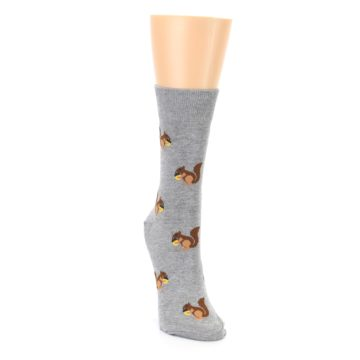Image of Grey Brown Squirrels Women's Dress Sock (side-1-front-03)
