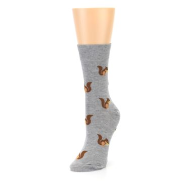 Image of Grey Brown Squirrels Women's Dress Sock (side-2-front-08)