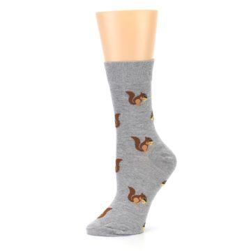 Image of Grey Brown Squirrels Women's Dress Sock (side-2-10)