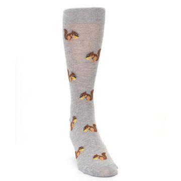Image of Grey Brown Squirrels  Men's Dress Sock (side-1-front-03)