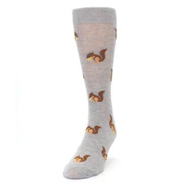 Image of Grey Brown Squirrels  Men's Dress Sock (side-2-front-06)