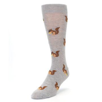 Image of Grey Brown Squirrels  Men's Dress Sock (side-2-front-07)
